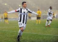Antonio Di Natale, pictured on December 15, 2011, struck an 89th-minute equaliser to hand 10-man Udinese an unlikely share of the points in a dramatic 1-1 draw at home to Palermo on Saturday