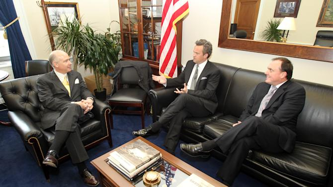 IMAGE DISTRIBUTED FOR NATIONAL ASSOCIATION OF DRUG COURT PROFESSIONALS - National Association of Drug Court Professionals 'All Rise Ambassador' Actor Matthew Perry, center, and CEO West Huddleston, right, discuss funding for Drug Courts and Veterans Treatment Courts with Congressman Robert Aderholt (R-AL) on Thursday, March 21, 2013 in Washington, DC. (Paul Morigi / AP Images for National Association of Drug Court Professionals)