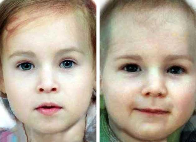 How the new royal might look if it's a girl (left) or a boy (right)