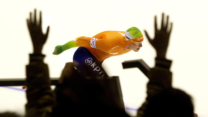 Sven Kramer of the Netherlands skates during the men's 10000m at the European Championships in Heerenveen