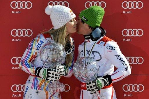 US skier Lindsey Vonn (L) and Austria's Marcel Hirscher stole the show in Schladming