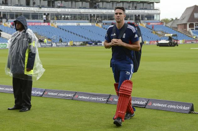 England's Pietersen looks on as he walks to the dressing room as the first one-day international between England and Australia was rained off at Headingley cricket ground in Leeds