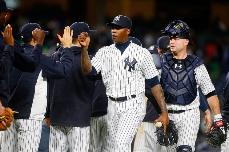 New York received an impressive collection of players in exchange for Aroldis Chapman, as the Cubs went all-in for 2016. (Getty Images)