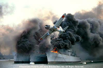 The Japanese surprise attack on Pearl Harbor successfully decimates the U.S. Pacific Fleet in Touchstone Pictures' Pearl Harbor