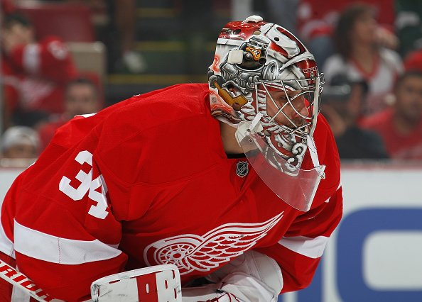 DETROIT, MI - APRIL 17: Petr Mrazek #34 of the Detroit Red Wings looks on during a face-off in the first period of Game Three of the Eastern Conference Quarterfinals during the 2016 NHL Stanley Cup Playoffs at Joe Louis Arena on April 17, 2016 in Detroit, Michigan. (Photo by Gregory Shamus/Getty Images)