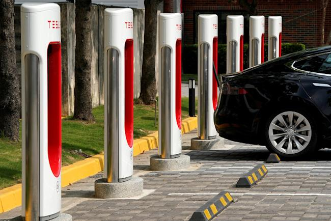 FILE PHOTO: Tesla Supercharger station are seen in Taipei, Taiwan August 11, 2017. REUTERS/Tyrone Siu/File Photo