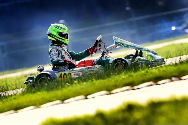 Mick Schumacher, the 15 year-old son of former F1 champion Michael Schumacher, competes during the German Kart Championship International ADAC, in Genk, on October 4, 2014