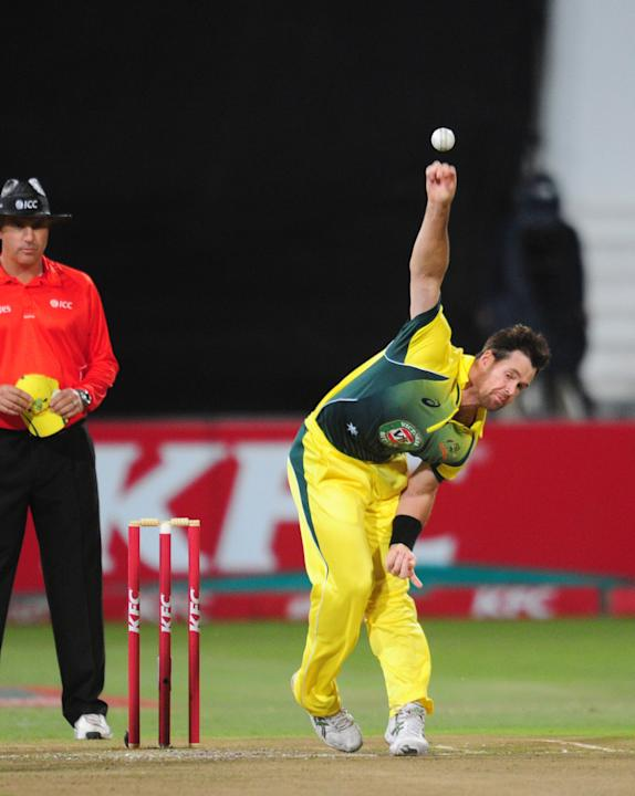 In this photo taken Wednesday, March 12, 2014, Australia's Daniel Christian delivers a ball during their rain-delayed T20 cricket match against South Africa in Durban, South Africa. (AP Photo)