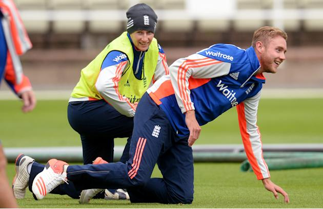England's Stuart Broad and Joe Root during nets