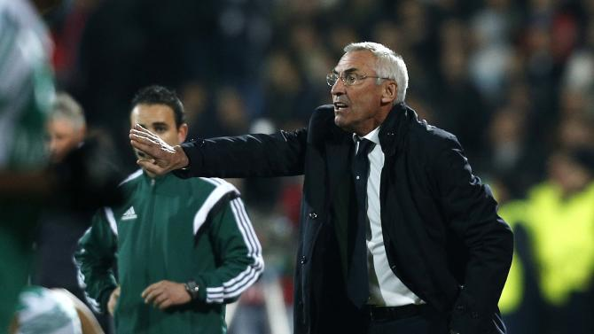 Lazio's coach Reja reacts during their Europa League soccer match against Ludogorets at Vasil Levski stadium in Sofia