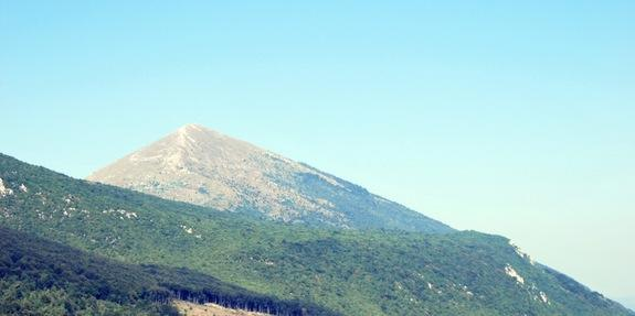 The pyramidal peak of Mount Rtanj in Serbia