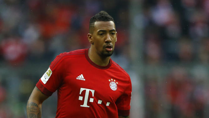 """FILE - In this Nov. 28, 2015 file photo Bayern's Jerome Boateng controls the ball during the German Bundesliga soccer match between FC Bayern Munich and Hertha BSC Berlin at the Allianz Arena stadium in Munich, Germany. Alexander Gauland, deputy leader of Alternative for Germany, was quoted Sunday, May 29, 2016, as telling the Frankfurter Allgemeine Zeitung newspaper: """"People find him good as a footballer. But they don't want to have a Boateng as their neighbor."""" (AP Photo/Matthias Schrader, file)"""