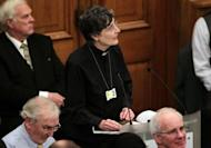"""Janet Appleby, a vicar from Tyne and Wear, speaks during a meeting of the Church of England General Synod in central London on November 20. The Church of England has """"undoubtedly"""" lost credibility after voting to reject the appointment of women bishops, its leader the Archbishop of Canterbury said Wednesday."""