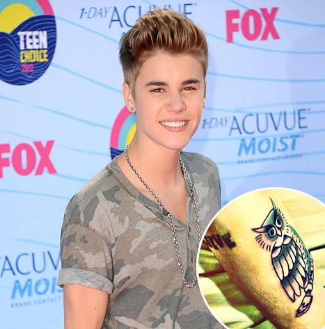 PICTURE: Justin Bieber Gets Tattoo of an Owl on His Arm