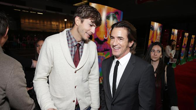 Ashton Kutcher and Dermot Mulroney seen at the Special Los Angeles Screening of Open Road and Five Star Feature Films 'JOBS', on Tuesday, August, 13, 2013 in Los Angeles. (Photo by Eric Charbonneau/Invision for Open Road/AP Images)