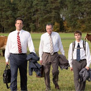 "This image released by 20th Century Fox shows, from left, Vince Vaughn, Tom Wilkinson and Dave Franco in a scene from ""Unfinished Business."" (AP Photo/20th Century Fox, Jessica Miglio)"