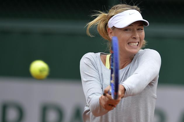 Russia's Maria Sharapova takes part in a training session during the French Open in Paris on May 23, 2015
