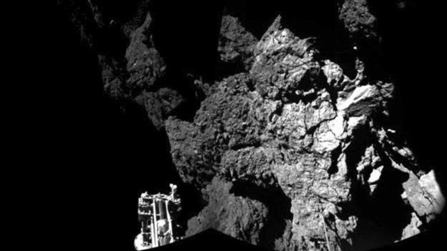 A probe named Philae is seen after it landed safely on a comet in this CIVA handout image.