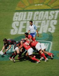 Players from Tonga and Wales compete during the HSBC Sevens World Series on November 25, 2011