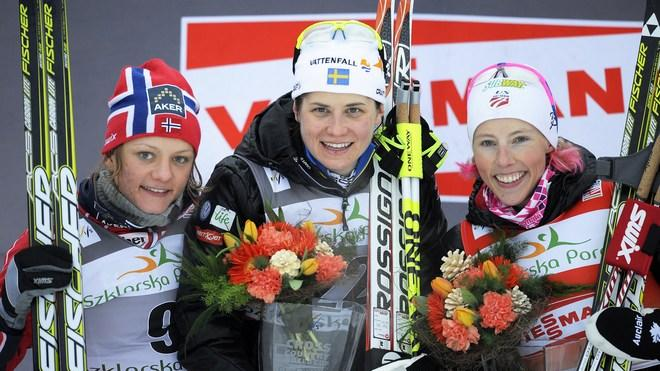 Second Place Winner Maiken Caspersen Falla Of Norway (L), First Place Winner Ida Ingemarsdotter Of Sweden (C) And Third AFP/Getty Images