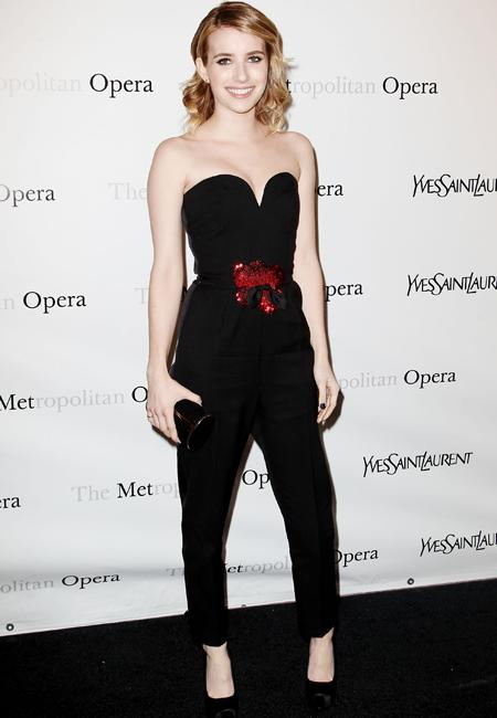 Celebrity fashion: Emma Roberts upped the fashion ante this week in a striking jumpsuit by YSL. The sweetheart neckline added the right dose of playfulness while the red sequin motif stopped the look