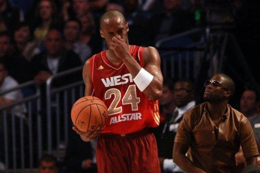 Kobe Bryant (pictured) fractured his nose after taking a forearm in the head from Team East guard Dwyane Wade