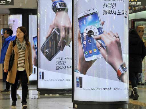 Sign-boards advertise Samsung Electronics' Galaxy Note 3 smartphone, in Seoul, on January 7, 2014