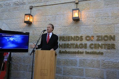 Dr. Mike Evans launches the Friends of Zion Ambassadors Institute, dedicated to combating Antisemitism in partnership with the Christian community, in the presence of 80 Diplomats at the Friends of Zion Museum in Jerusalem.
