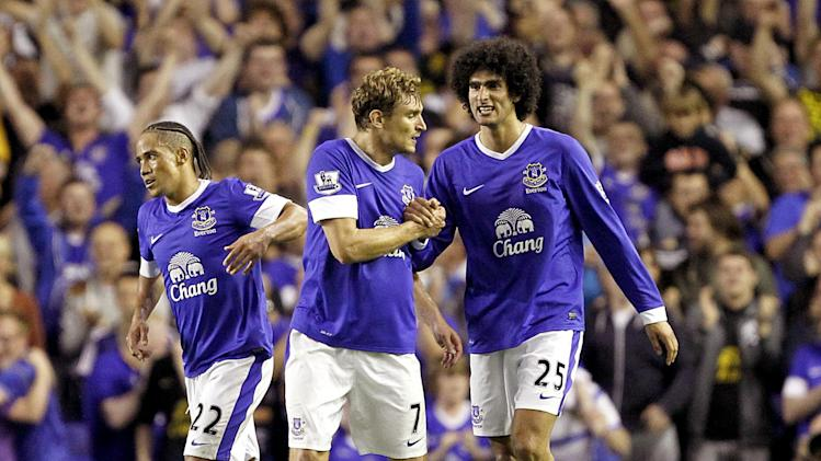 Marouane Fellaini, right, was the star of the show as Everton beat Manchester United