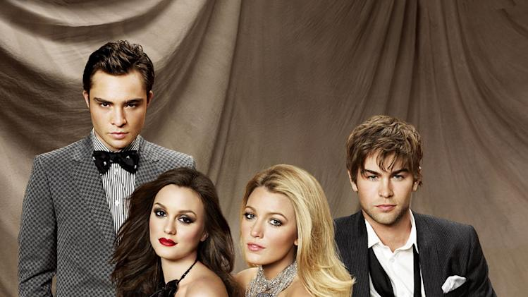 "Ed Westwick as Chuck, Leighton Meester as Blair, Blake Lively as Serena and Chace Crawford as Nate in ""Gossip Girl."""