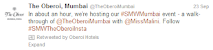 Social Media Strategy Review: Hospitality Industry image Oberoi Hotels Tweets