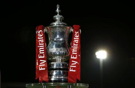 General view of the FA Cup trophy before the match