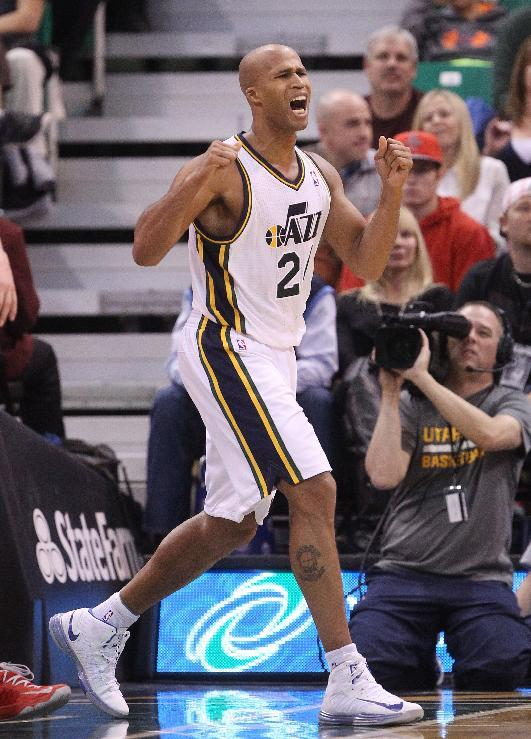 Utah Jazz's Richard Jefferson (24) reacts to a call in the first half during an NBA basketball game against the Houston Rockets, Saturday, Nov. 2, 2013, in Salt Lake City. The Rockets defeated the Jazz 104-93