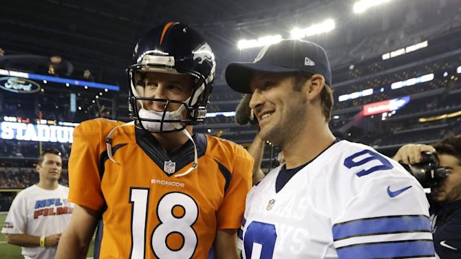 Denver Broncos' Peyton Manning (18) and Dallas Cowboys' Tony Romo (9) smile as they talk at midfield following their NFL preseason football game, Thursday, Aug. 28. 2014, in Arlington, Texas. The Broncos won 27-3