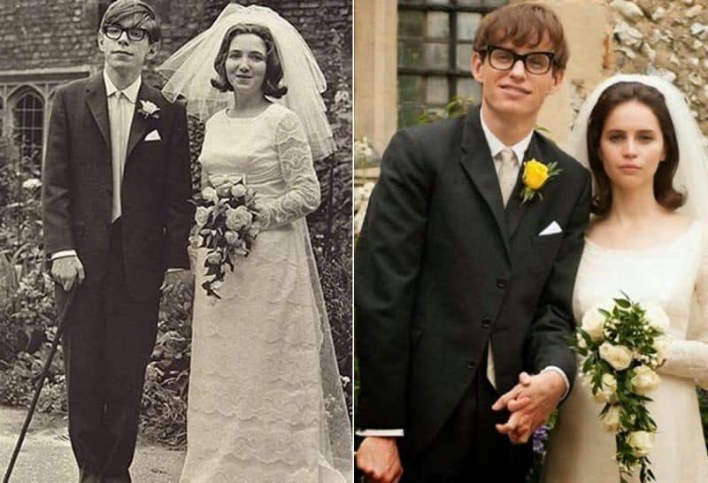 七、艾迪瑞德曼(右)飾演史蒂芬霍金(左):拜《愛的萬物論》之賜,讓英國男星艾迪瑞德曼一舉躍升為史上最年輕的奧斯卡影帝。艾迪瑞德曼在片中飾演英國天文物理學家史蒂芬霍金,從二十歲的青年一路演到五十來歲,精準詮釋出霍金從求學、結婚到罹患漸凍症的人生歷程。艾迪的還原度極高,就連本尊霍金看完電影都公開表示:「簡直就像在看自己一樣。」《愛的萬物論》也成為艾迪瑞德曼最具代表性的電影角色。(圖:Yahoo)
