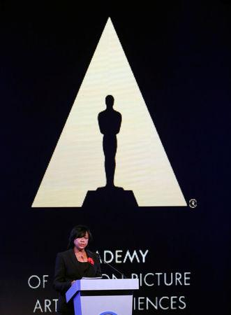 Cheryl Boone Isaacs, President of the Academy of Motion Picture Arts & Sciences speaks at a business event at the Bing theatre in Los Angeles
