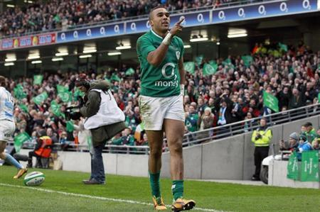 Ireland's Simon Zebo celebrates after he scores a try against Argentina in the international rugby union match at the Aviva Stadium in Dublin
