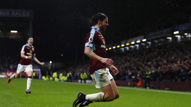 Burnley's George Boyd celebrates scoring their third goal