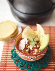 Quick Red Posole with Beans
