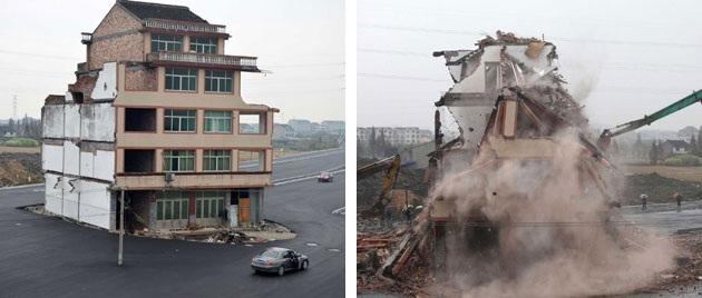 """The famous """"nail house"""" was demolished over the weekend to complete the newly built road (Rex)"""