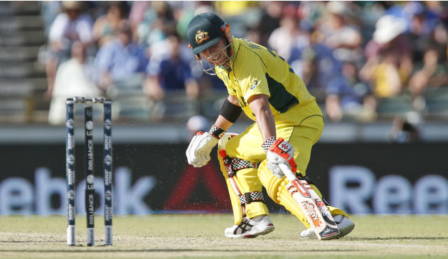Australia's David Warner completes a run and turns to take another during their Cricket World Cup Pool A match in Perth, Australia, Wednesday, March 4, 2015. (AP Photo Theron Kirkman)