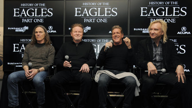 "From left, Timothy B. Schmit, Don Henley, Glenn Frey and Joe Walsh of The Eagles take part in a Q&A session with reporters at the 2013 Sundance Film Festival, Saturday, Jan. 19, 2013, in Park City, Utah. The documentary film ""The History of The Eagles Part 1"" is being shown at the festival. (Photo by Chris Pizzello/Invision/AP)"
