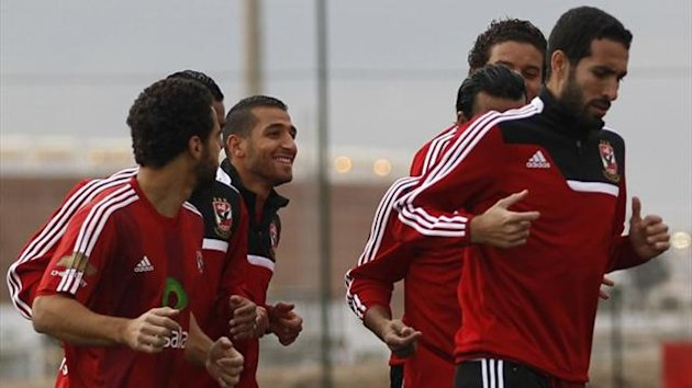 Mohamed Aboutrika (R) of Egypt's Al Ahly takes part in a practice session in preparation for the FIFA Club World Cup in Agadir (Reuters)