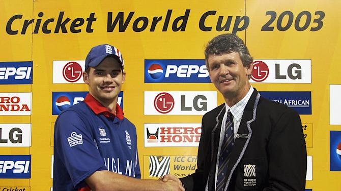 James Anderson of England receives his man of the match award