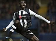 Newcastle United's Papiss Cisse celebrates after scoring the opening goal against Chelsea during the Premier League match on May 2. Chelsea are now four points behind fourth placed Tottenham and fifth placed Newcastle with just two games remaining