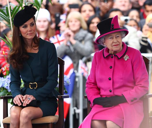 HRH Queen Elizabeth II and Catherine Duchess of Cambridge, aka Kate Middleton at Leicester City centre on March 8, 2012.    The Queen and members of the Royal family are visiting Leicester as part of