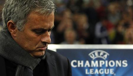 Chelsea's head coach Mourinho reacts before their Champions League soccer match against Schalke 04 in Gelsenkirchen