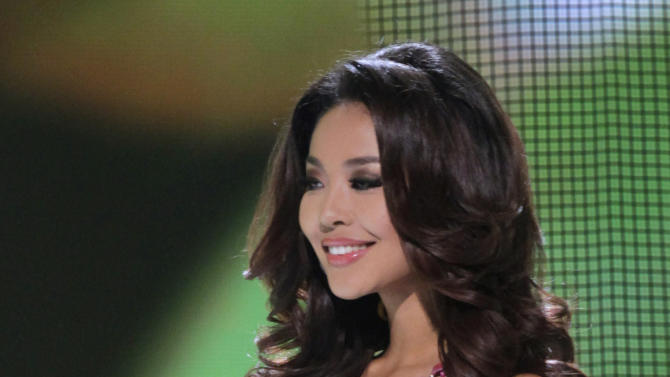 Miss China Luo Zilin competes in the Miss Universe pageant in Sao Paulo, Brazil, Monday, Sept. 12, 2011. Zilin was named fourth runner up. (AP Photo/Andre Penner)