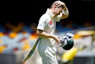 Michael Clarke walks off following his declaration against South Africa at the Gabba on Tuesday. The Australia skipper says the big positive for Australia in Tuesday's drawn Gabba Test was his team's bowling performance against South Africa's heavyweight top order