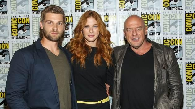 Mike Vogel, Rachelle Lefevre and Dean Norris attend the 'Under the Dome' press line during Comic-Con International 2013 on July 20, 2013 in San Diego -- Getty Images